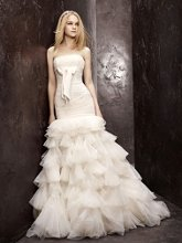 White by Vera Wang Style VW351086  <br /> Mermaid Gown with Lace Applique and Grosgrain Bow