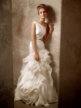 White by Vera Wang Style VW351010  <br /> One Shoulder Structured Fit and Flare Gown