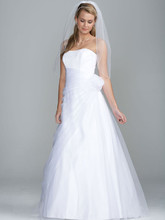 David&#39;s Bridal Collection  <br /> Style OP1204  <br />Long Organza Gown with Flower Detail at Waist