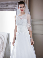 David&#39;s Bridal Collection  <br /> Style WG3529  <br />Taffeta A Line Gown with Illusion Lace Neckline