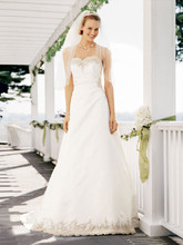 David&#39;s Bridal Collection  <br /> Style OP9264  <br /> Strapless A Line Satin Gown with Beaded Lace