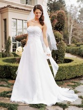 David&#39;s Bridal Collection  <br /> Style V9409  <br /> Chiffon A-line Gown with Side Draped Bodice
