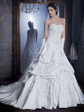David&#39;s Bridal LUXE  <br /> Style PWG3497  <br /> Pick Up Gown with Beaded Lace Embellished Bodice