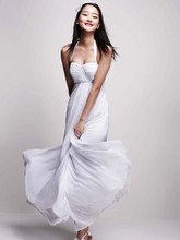 DB Studio  <br /> Style BR1016  <br /> Halter Chiffon A-Line with Center Front Draping