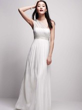 DB Studio  <br /> Style EJ2M2626  <br /> One Shoulder Mesh Gown with Beaded Waist