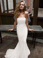 Galina  <br /> Style S8551  <br /> Allover beaded lace gown with empire waist.