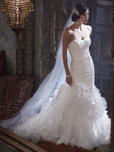 Galina Signature  <br />Style SWG560  <br /> Wedding Gown with Lace Appliques and Ruffled Skirt