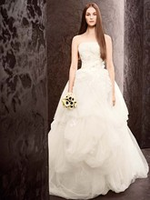 White by Vera Wang  <br /> Style VW351062  <br /> Organza Gown with Fern Embroidery and Net Overlay