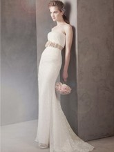 White by Vera Wang  <br /> Style VW351044  <br /> Strapless Draped Lace Column Gown