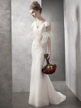 White by Vera Wang  <br /> Style WVW351021  <br /> V Neck Soft A Line Gown with Hand Appliqued Lace