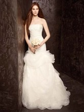 White by Vera Wang  <br /> Style VW351166  <br /> Strapless Tulle and Organza Fit and Flare Gown