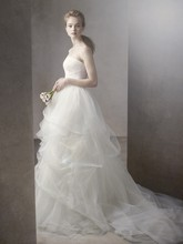 White by Vera Wang  <br /> Style VW351065  <br /> Ball Gown with Corded Lace Bodice and Tulle Skirt