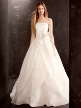 White by Vera Wang  <br /> Style VW351178  <br /> Organza Gown with Draped Bodice and Tulle Skirt