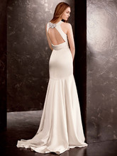 White by Vera Wang  <br /> Style VW351186  <br /> Double Faced Satin Gown with Grosgrain Sash
