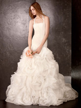 White by Vera Wang  <br /> Style VW351172  <br /> Fit and Flare Gown with Sequin and Tulle Flanges