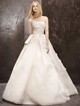 White by Vera Wang  Style WVW351124  Basket Weave Organza Gown with Floral Detail