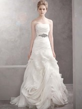 White by Vera Wang  <br /> Style WVW351011  <br />Organza Fit and Flare Gown with Bias Flange Skirt