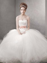 White by Vera Wang  <br /> Style WVW351007  <br /> Ball Gown with Asymmetrically Draped Bodice