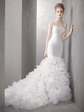 White by Vera Wang Style  <br /> Style VW351136  <br /> Georgette Mermaid Gown with Dramatic Organza Skirt