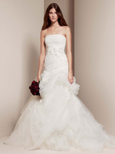 White by Vera Wang Style VW351166  <br /> Strapless Tulle and Organza Fit and Flare Gown