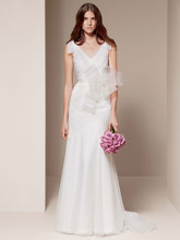 White by Vera Wang Style VW351021  <br /> V Neck Soft A Line Gown with Hand Appliqued Lace