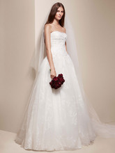 White by Vera Wang Style VW351167  <br /> Strapless Ball Gown with Ribbon Floral Detail