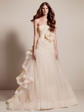 White by Vera Wang Style VW351199  <br /> Fit and Flare Gown with Tri-colored Draped Skirt
