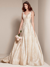 White by Vera Wang Style VW351205  <br /> Double-Weaved Floral Matelasse Ball Gown