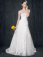 David&#39;s Bridal Collection Style YP3344  <br /> Strapless Lace Fit-and-Flare Gown with Side Split