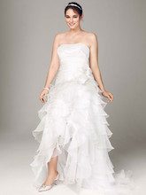 DB Woman Style 9T3505  <br /> Strapless Organza High Low Ruffle Skirt Gown