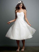 Galina Style PK3367  <br /> Tea-Length Strapless Tulle Gown with Floral Sash