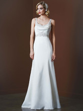 Galina Signature Style SWG564  <br /> Satin Gown with Beaded Waist and Illusion Back