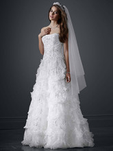 David&#39;s Bridal LUXE Style PWG3511  <br /> Beaded Wedding Gown with Tiered Scallop Skirt