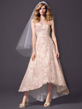 Oleg Cassini Style CWG617  <br /> Strapless High Low Ball Gown with Colored Lace