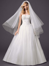 Oleg Cassini Style CWG616  <br /> Strapless Pleated Bodice Tulle Ball Gown