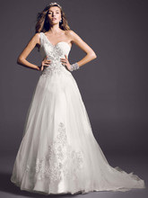 Oleg Cassini Style CKP421  <br /> One Shoulder Tulle Ball Gown with Lace Appliques