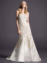 Oleg Cassini Style CWG480  <br /> Mikado Fit-and-Flare with Allover Beaded Lace