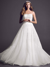 Oleg Cassini Style CT258  <br /> Satin Bodice with Organza Skirt and Beading
