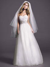 Oleg Cassini Style CPK440  Strapless Tulle Ball Gown with Beaded Belt