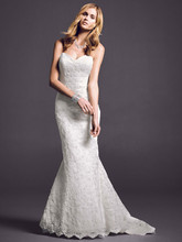 Oleg Cassini Style CRL277  <br /> Strapless sweetheart beaded lace trumpet with shirred tulle bodice.