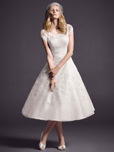 Oleg Cassini Style CMK513  <br /> Cap Sleeve Wedding Dress with Illusion Neckline