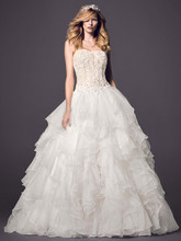 Oleg Cassini Style CWG568  <br /> Strapless Ball Gown with Organza Ruffle Skirt