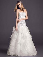 Oleg Cassini Style CWG546  <br /> Organza Ball Gown with Beaded Lace Bodice