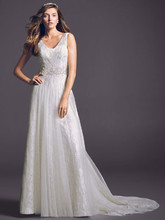 Oleg Cassini Style CWG530  <br /> A Line Lace Tank Gown with Beaded Waist