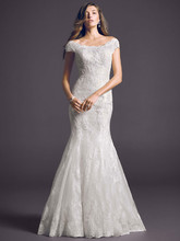Oleg Cassini Style CWG533  <br /> Off The Shoulder Chantilly Lace Trumpet Gown