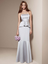 White by Vera Wang Style VW360134  Satin and Matte Crepe Peplum Dress with Satin Sash