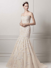 Oleg Cassini Style CMB619  Strapless Trumpet All Over Lace and Beaded Gown