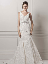 Oleg Cassin Style CWG621  All Over Lace Trumpet Gown with Deep V Neckline