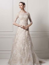 Oleg Cassin Style CWG630  3/4 Illusion Sleeve Lace A-line Gown