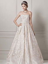 Oleg Cassini Style CWG631  Strapless Organza Ball Gown with Lazer Cut Design